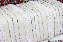 Moroccan Vintage Wedding Blanket Handira Berber Throw Wool Sequins 212cm x 115cm - 7 ft. x 3.8ft HW1